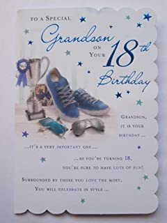 STUNNING TOP RANGE BEAUTIFULLY WORDED GRANDSON EIGHTEEN 18TH BIRTHDAY CARD