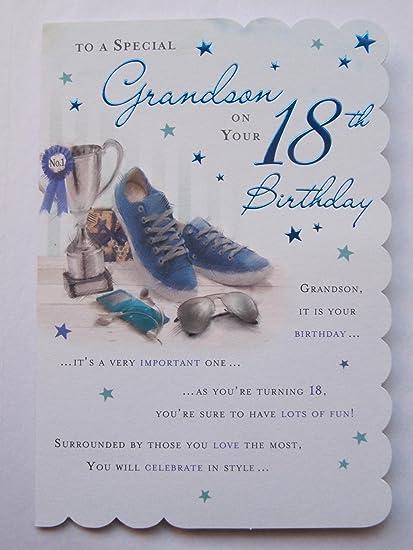 STUNNING TOP RANGE BEAUTIFULLY WORDED GRANDSON EIGHTEEN 18TH BIRTHDAY CARD Amazoncouk Kitchen Home