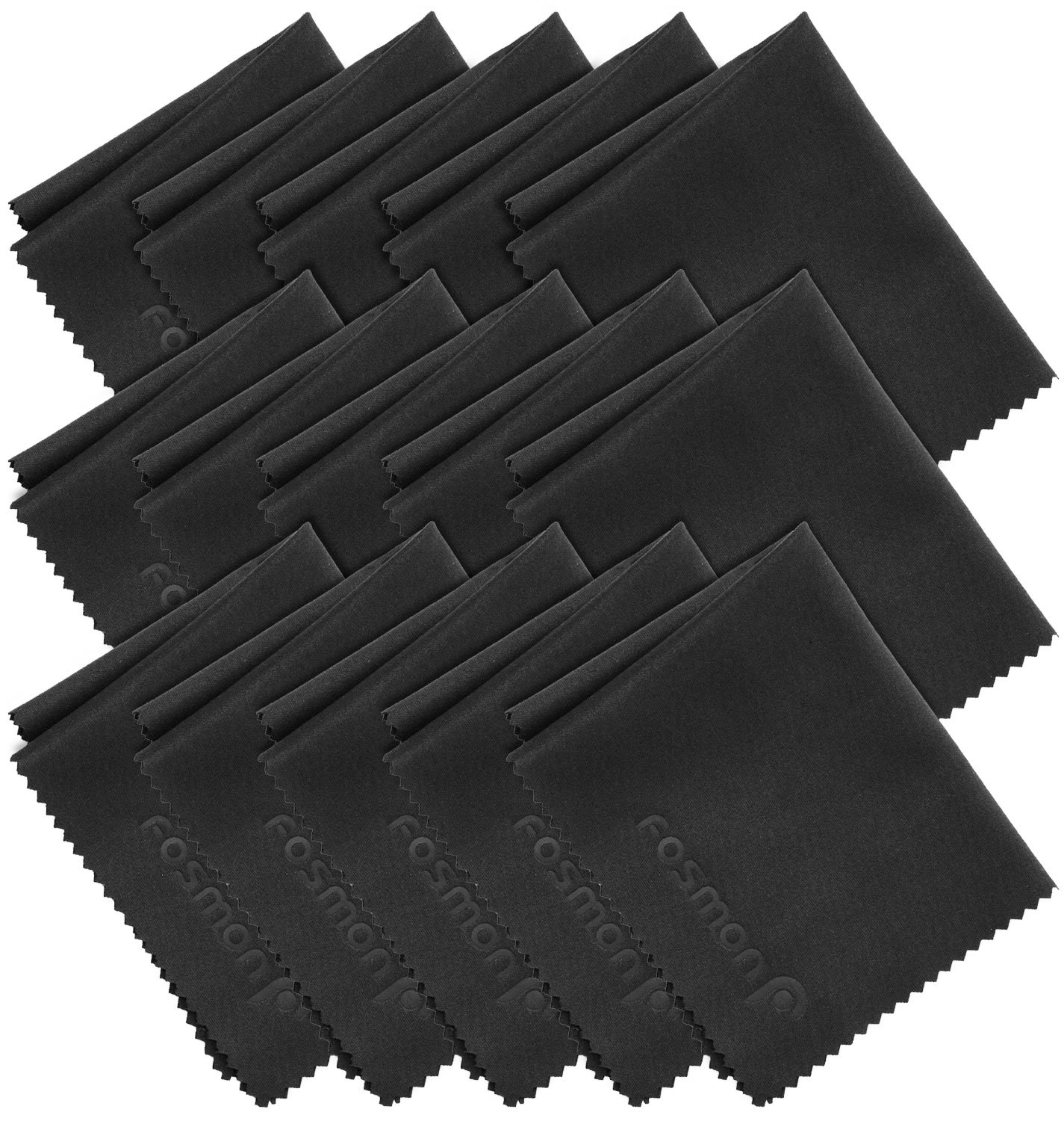 Microfiber Cleaning Cloths, Fosmon 15-Pack of Microfiber Cleaning Cloths [6 x 7 inches / 15.2 x 17.8 cm] (Black) A1743