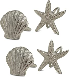 WHW Whole House Worlds Beach Chic Starfish Napkin Rings, Set of 4, Metal, Hand Cast Silver Aluminum, 2.75 x 2.5 Inches, Coastal Table Top Decor
