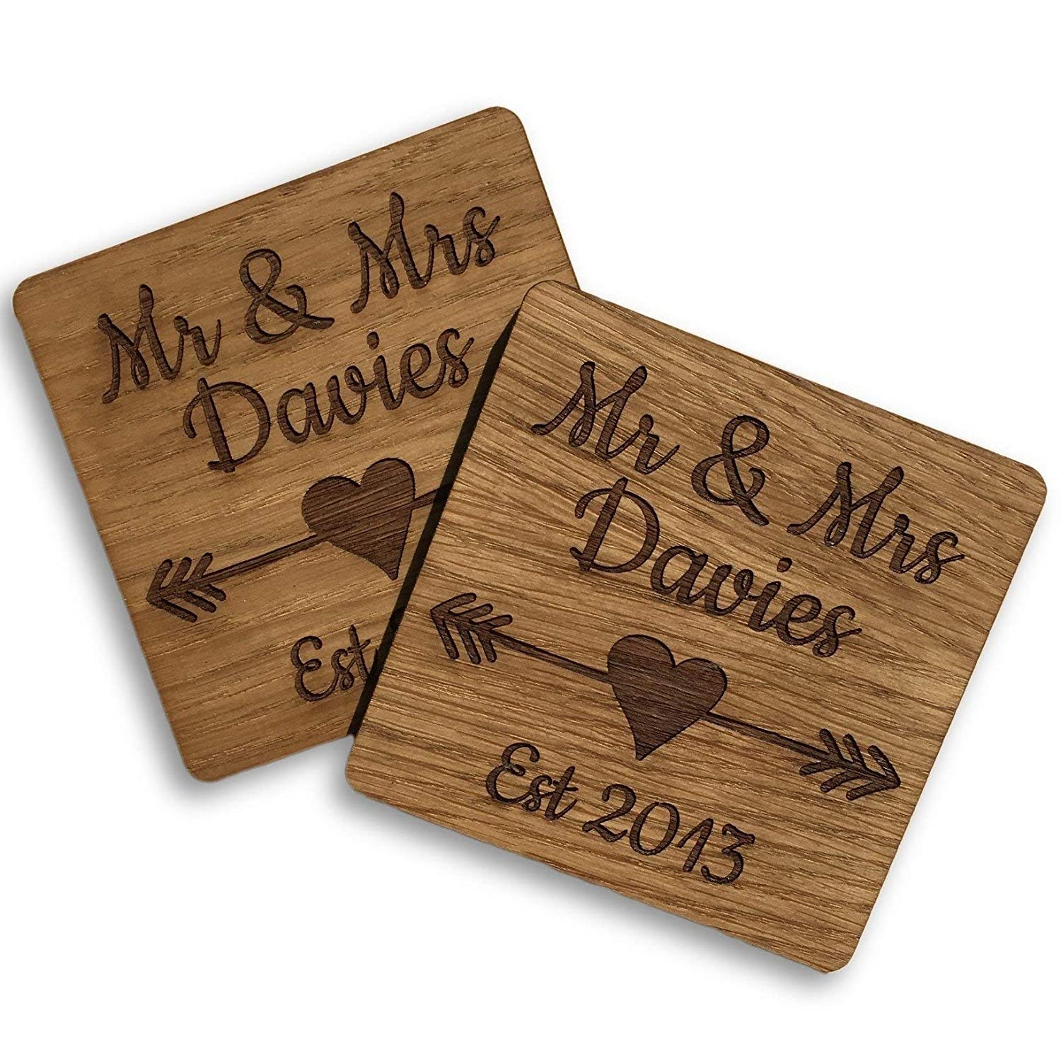 Ideal Gift for Wedding or Anniversary Set of 2 Wooden Mr /& Mrs Coasters