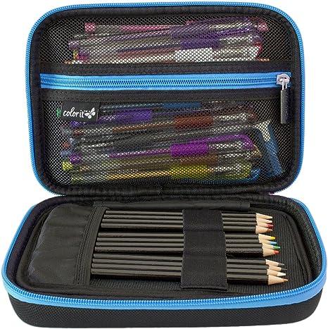 ColorIt - Estuche grande para lápices de colores, bolígrafos de gel, marcadores, pinceles, suministros de manualidades (etiqueta negra): Amazon.es: Juguetes y juegos