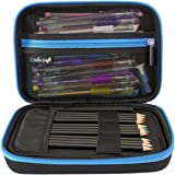 "ColorIt Large Pencil Case 6""x9""x2.5"" Perfect Storage for Colored Pencils, Gel Pens, Markers, Craft Supplies - EVA Carrying Case Only (BLUE)"