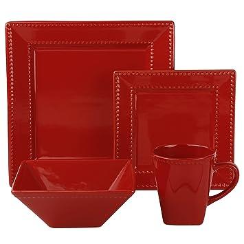 Nova Square Beaded 16 Piece Dinnerware Set Porcelain Dinnerware (Red)  sc 1 st  Amazon.com & Amazon.com | Nova Square Beaded 16 Piece Dinnerware Set Porcelain ...