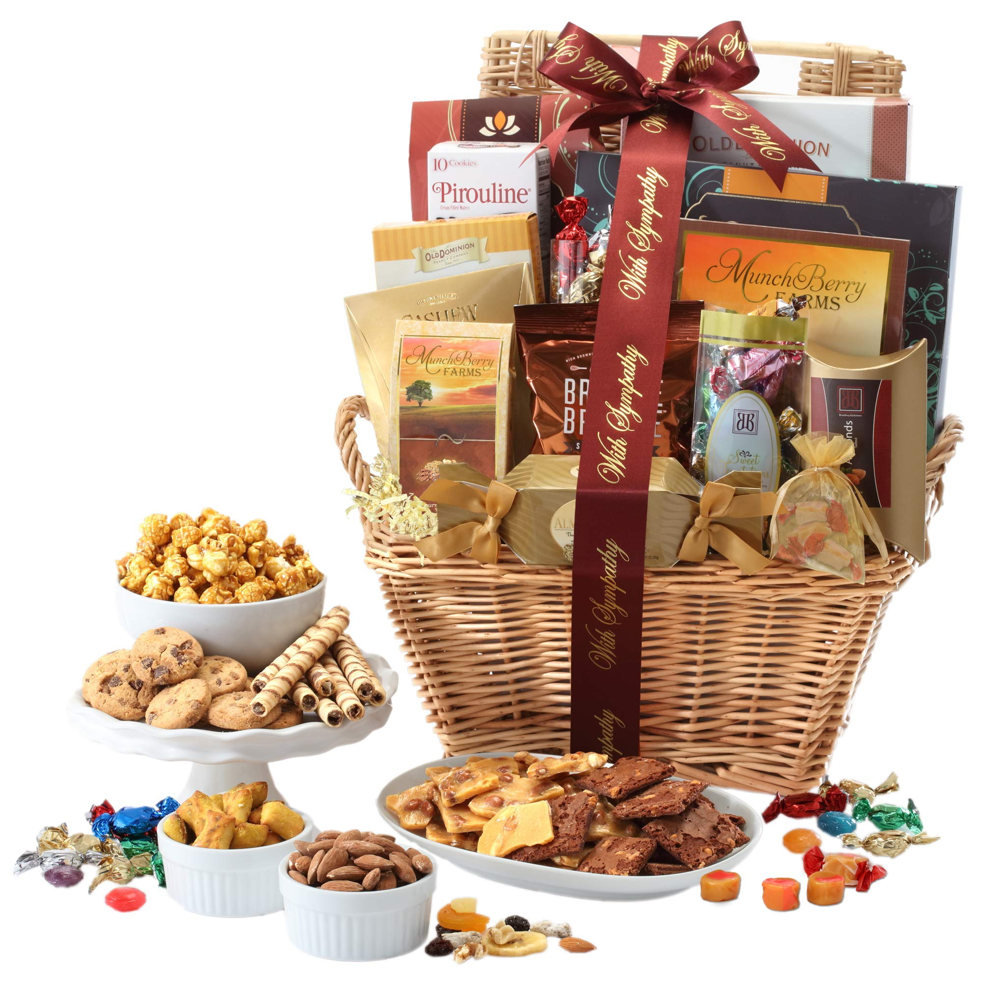 Broadway Basketeers With Sympathy Gift Basket Deluxe with Gourmet Pastries, Seasoned Nuts & Sweets by Broadway Basketeers