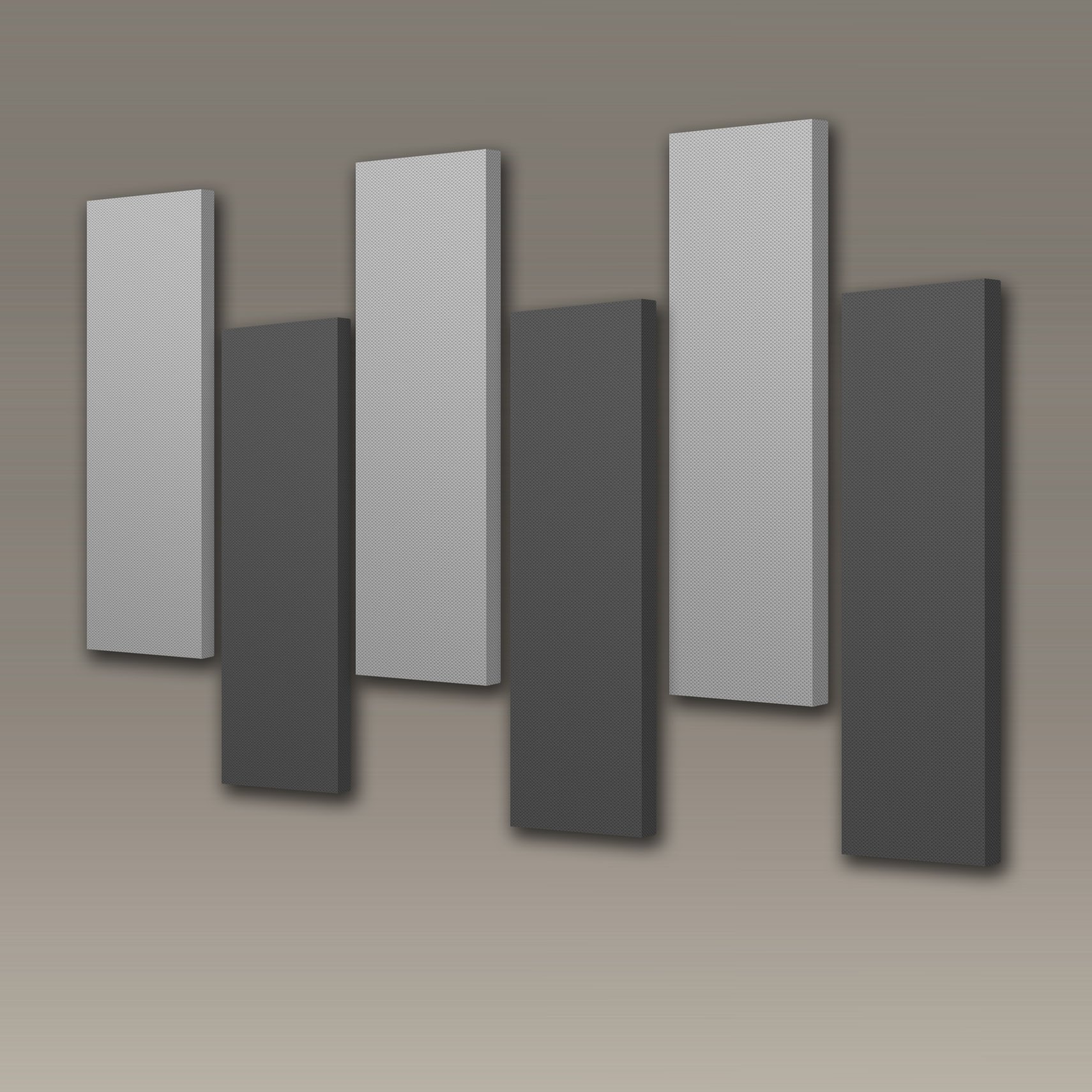 Acoustimac Stagger Acoustic Design Pack: 6 Pcs 3'x1'x2'' gray & charcoal