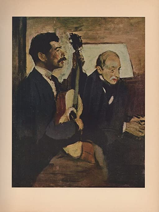 "1951 Vintage DEGAS /""DEGAS/' FATHER LISTENING TO PAGANS COLOR Art Print Lithograph"
