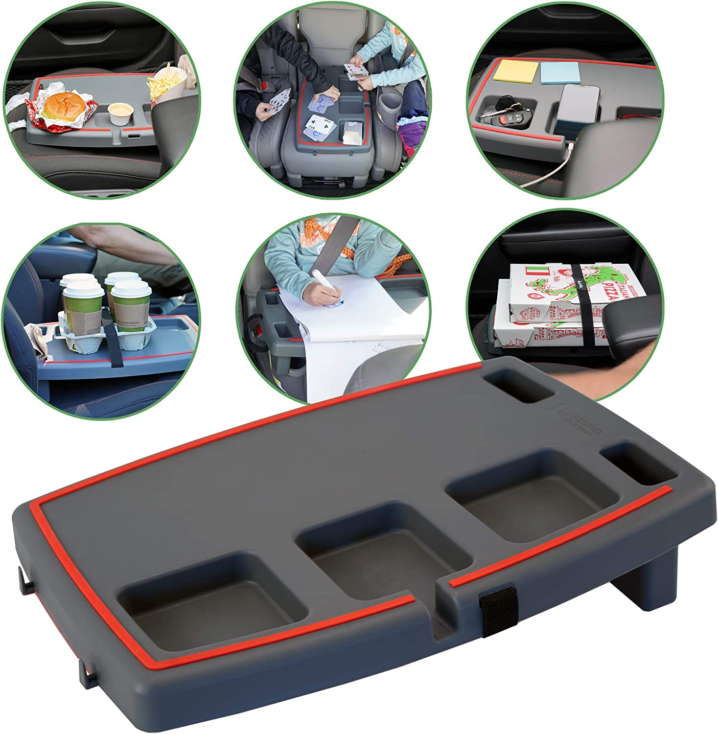 Stupid Car Tray Personal Passenger Seat Multi Function Anti Slip Rubber Food and Drink Travel Organizer Tray, Gray/Red