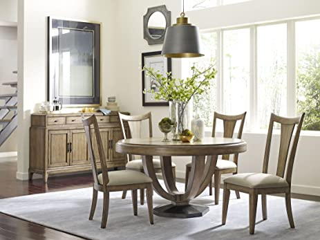 American Drew Evoke 6 Piece Barley Round Dining Room Set   Table, 4 Chairs,