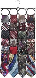 Marcus Mayfield Men's Tie Rack, the No Snags, Best Space Saving, Tie & Scarf Hanger for Ties, Scarves & Accessories | Closet Organizer & Holder | Stores over 2 dozen Ties (1-Black)
