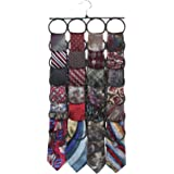 Marcus Mayfield Tie Rack, Closet Organizer, holds over 2 dozen Ties and Scarves (1-Black)