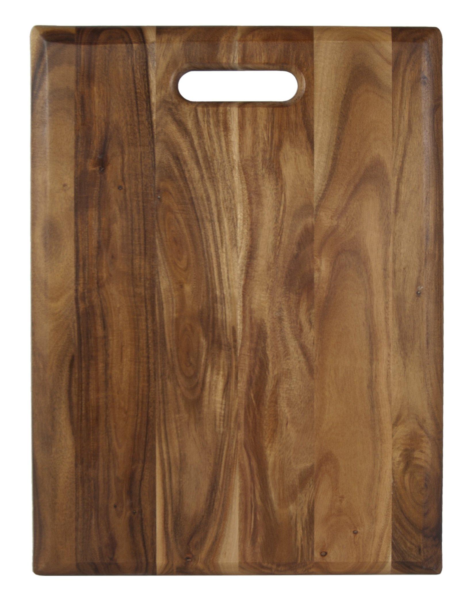 Architec Gripperwood Acacia Cutting Board, Non-Slip Gripper Feet, 12'' by 16''