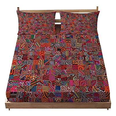DJoaneMcdl Deep Pocket Fitted Sheet for Bedroom - Molas Bedding Set for Kids with Pillowcase - Elastic Pocket - Twin/XL: Home & Kitchen