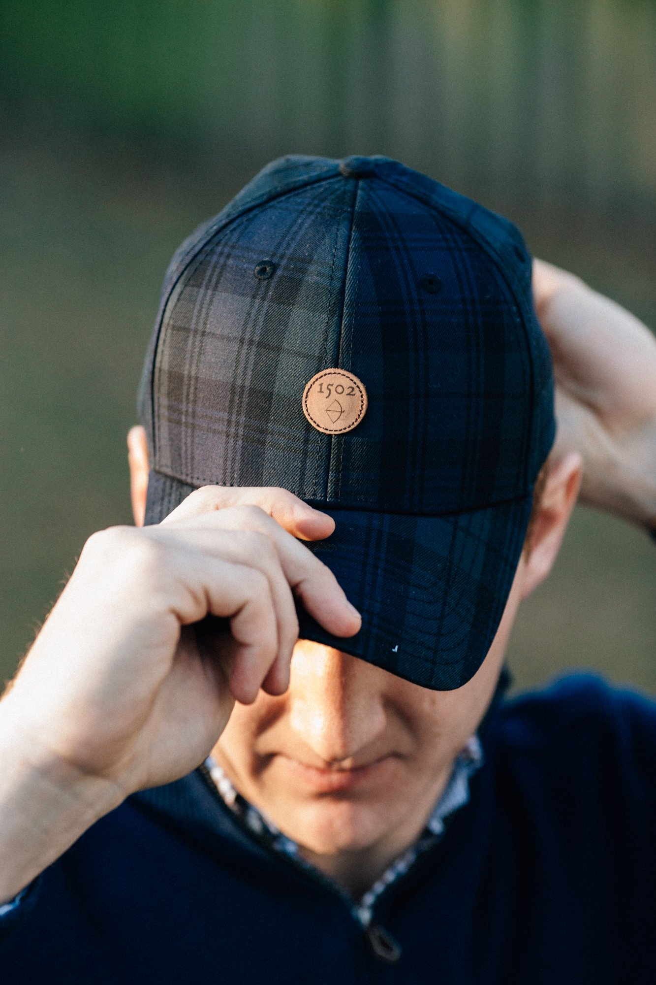 Classic Golf Hat, Black Watch Plaid 1502 Design, Adjustable Hat & Leather Strap
