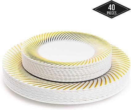 40 Piatti Plastica Rigida Monouso Eleganti con Bordo Oro