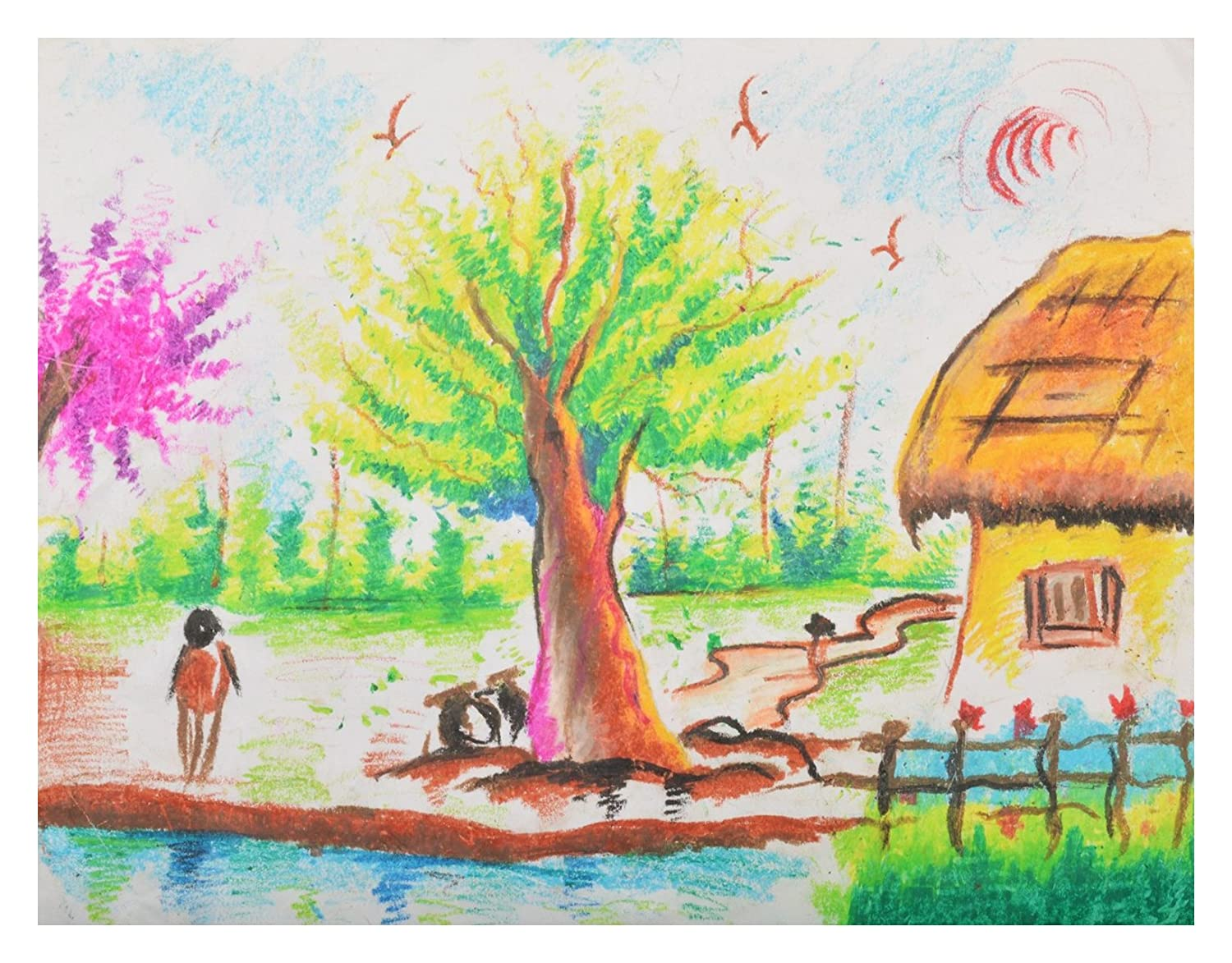 Rupa art a village life drawing cotton 33 cm x 43 cm x 2 cm amazon in home kitchen