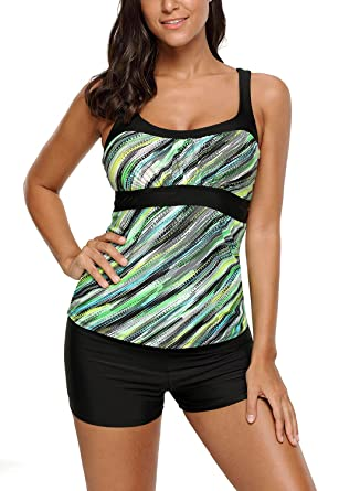 3172010267b Sidefeel Women Strap Abstract Printed Camisole Tankini Swim Top Small Amy  Green