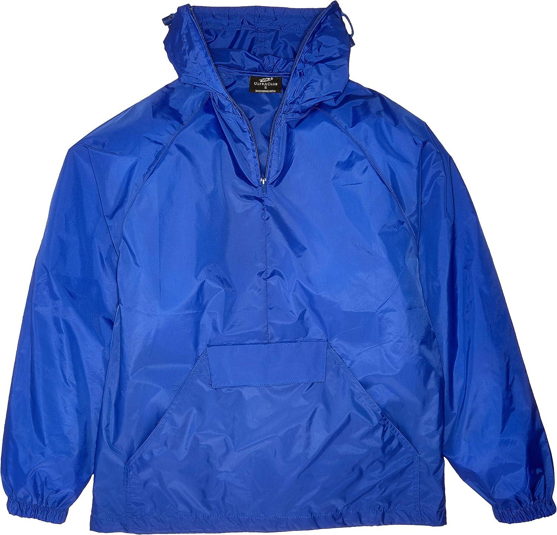 Royal X-Large RETOV Mens 1//4-Zip Hooded Pullover Pack-Away Jacket