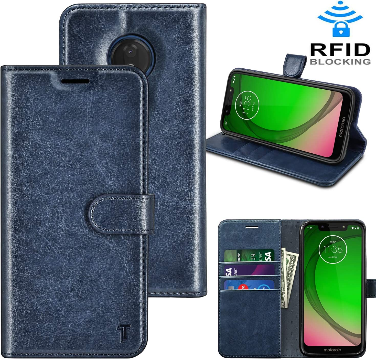 Takfox Moto G7 Power Case, Motorola G7 Supra/G7 Optimo Maxx XT1955DL/G7 Power Case Wallet PU Leather Flip Cover w/Card Slots ID Credit Card Holder [RFID Blocking][Kickstand] Magnetic Phone Case-Blue