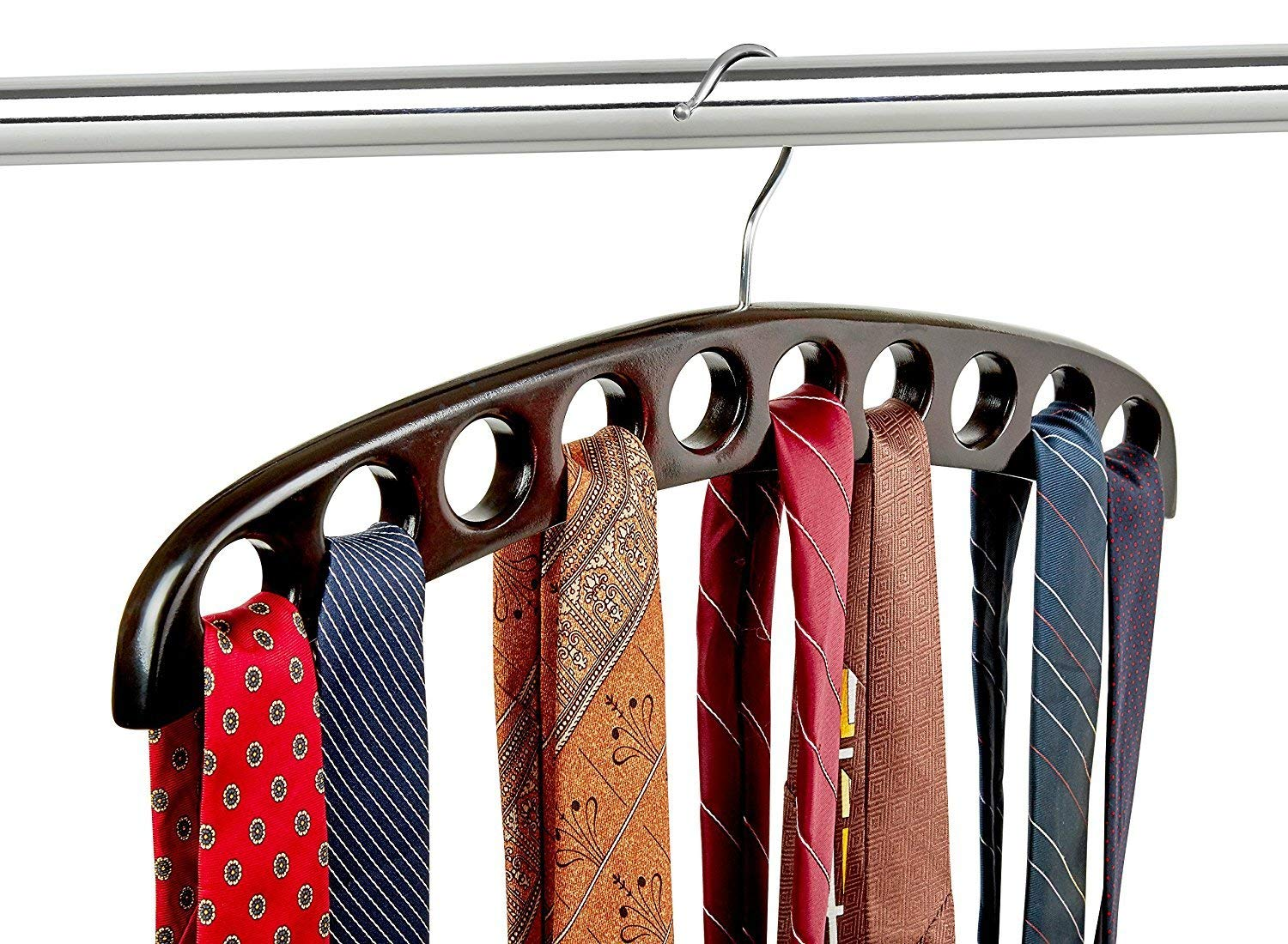 Scarf Hanger Mahogany Color Closet Organizer and 10 Hole Wooden Tie Rack Hangers for Space Saving Solution and Perfect Space Saving Closet Makeover