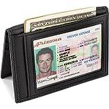 Slim Bifold Front Pocket Wallet 2 ID Window Credit Card Holder Genuine Leather RFID Blocking