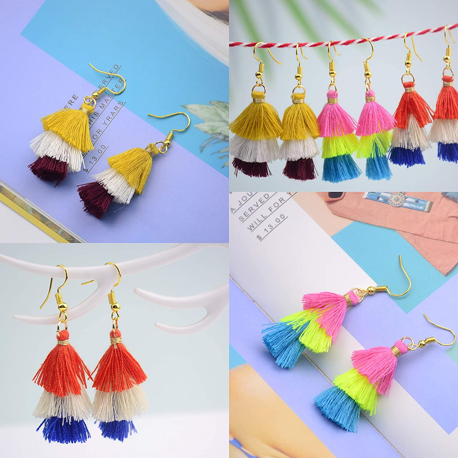 Miexd Aokbean 50pcs 1.57 Inch Colorful Tiny Tri-Layered Keychain Tassels Chunky Cotton Soft Handicrafts Tassel with Gold Jump Ring for Jewelry Making Earring Bag Charms Pendant