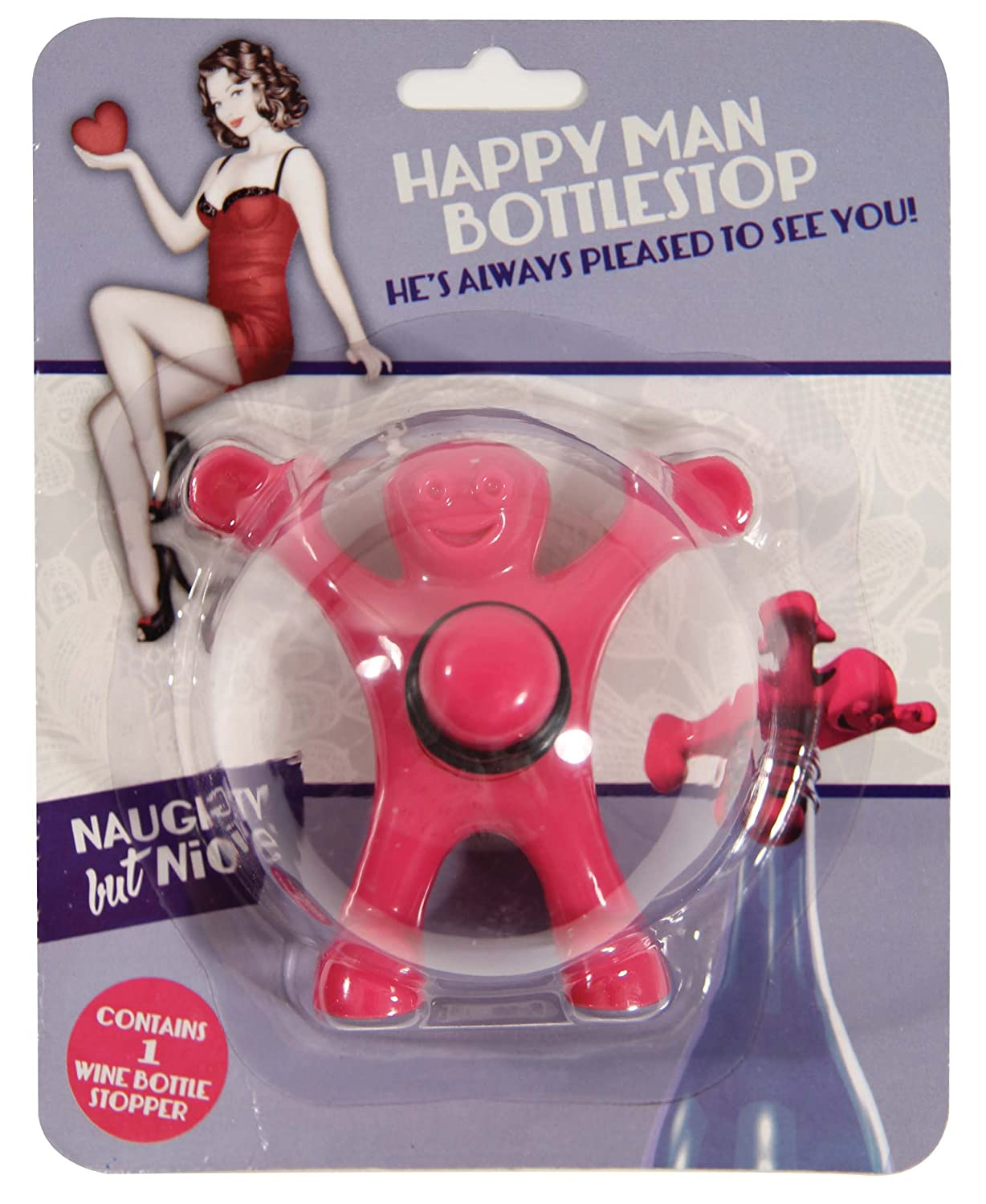 Amazon.com: Happy Man Bottle Stopper - Pink: Kitchen & Dining