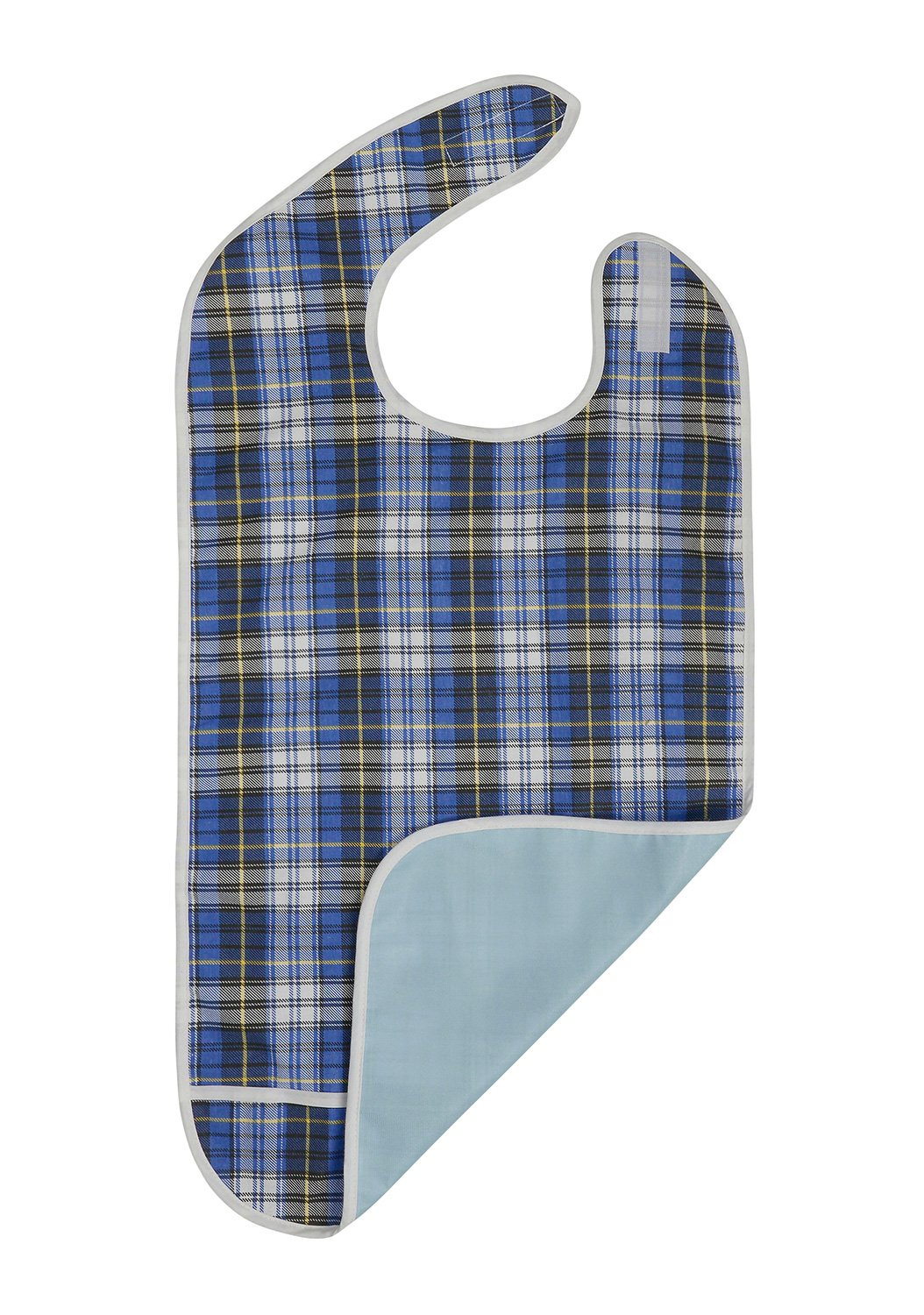 Adult Bib - Reusable Clothing Protector - Waterproof - Crumb Catcher - Machine Washable - Extra Long Senior Men and Women Bibs for Eating by Modaliv (Blue)