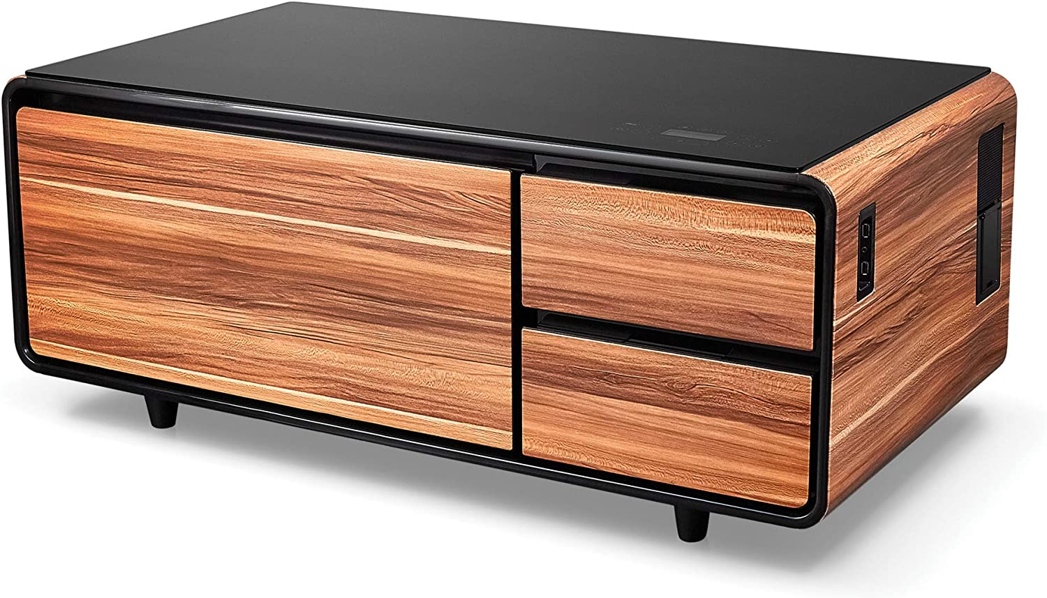Amazon Com Sobro Coffee Table With Refrigerator Drawer Bluetooth Speakers Led Lights Usb Charging Ports For Tablets Laptops Or A Cell Phone Perfect For Parties Or Entertaining Wood Kitchen Dining