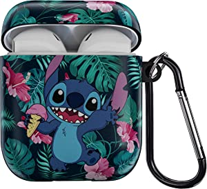 Cute Airpods_Case Protective Case TPU Shockproof Earphone Cover Stitch AirPod Charging Cases with Keychain Compatible with Apple AirPods 1 & 2