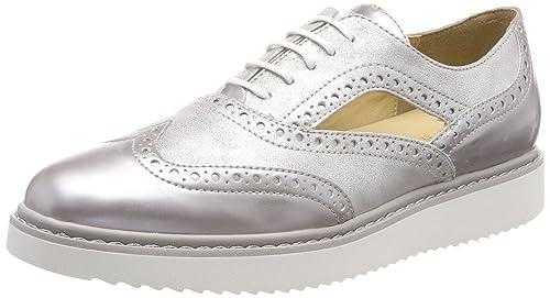 D Thymar a, Zapatos de Cordones Oxford para Mujer, Gris (Lt Grey/Off White), 39 EU Geox