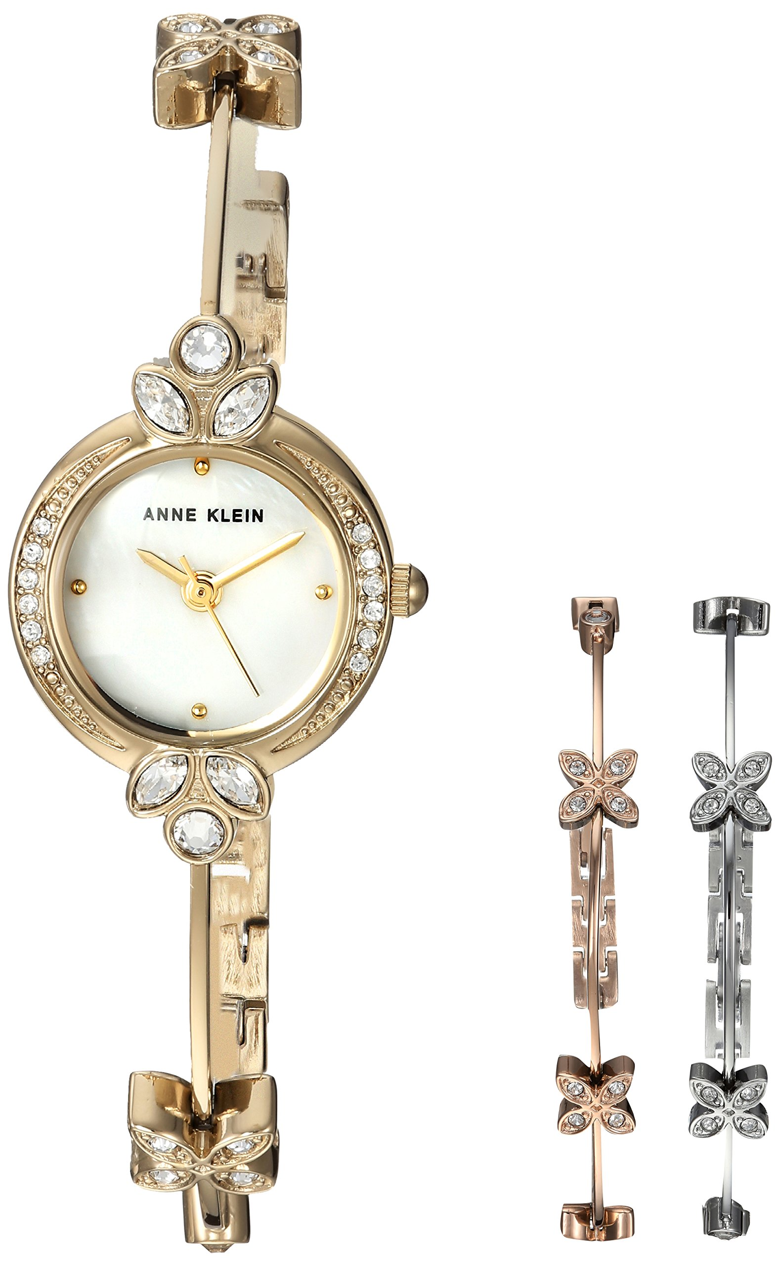 Anne Klein Women's AK/3042TRST Swarovski Crystal Accented Gold-Tone Watch and Bangle Bracelet Set