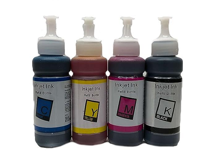 Bramacartuchos - 4 X Botellas de Tinta de 100ml Compatible con Cartuchos T6641, T6642, T6643, T6644 - para impresoras ET-2500, ET-2550, ET-4500, ...