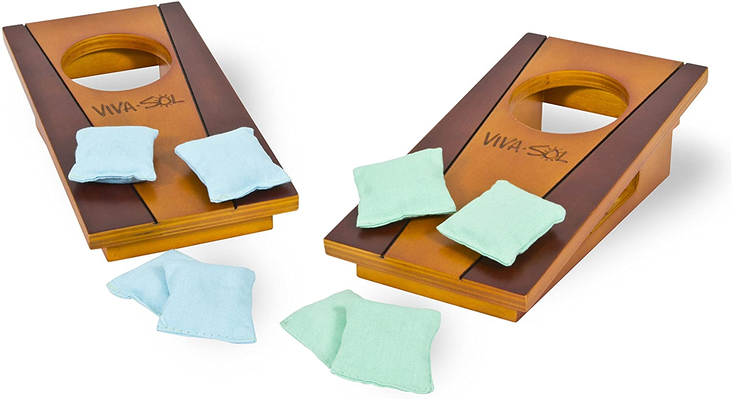 """Viva Sol Miniature Version of Classic Bean Bag Toss Game Perfect for a Desk or Table , brown , 5"""" x 10"""" - VS5002"""