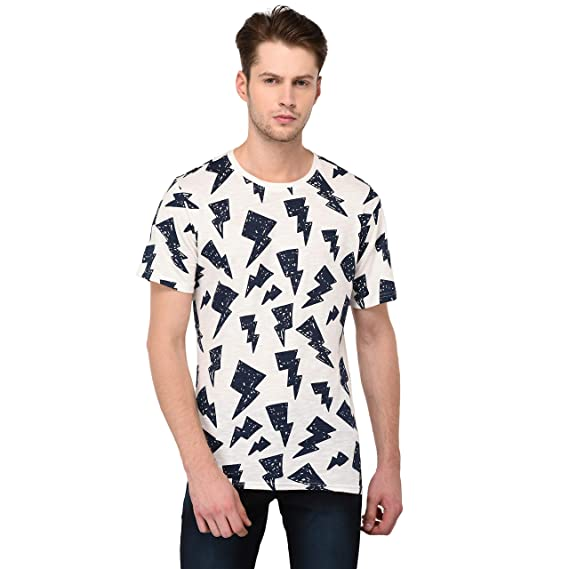 f758e64180 JAAFFI Men s Cotton Graphic Print Round Neck T-Shirt (White