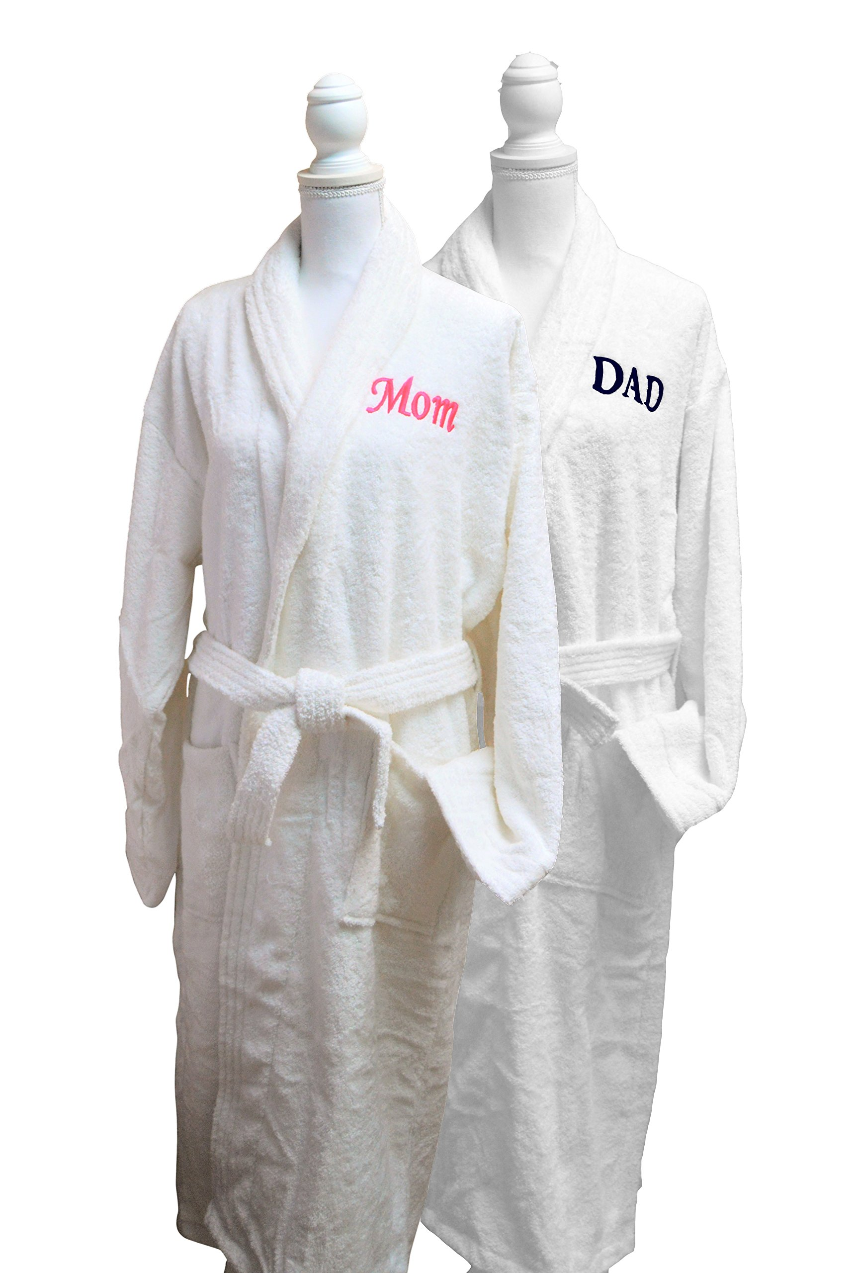 Resort Spa Home Décor Mom & Dad Monogrammed/Embroidered Luxury White Terry Cotton Spa Robe Set of 2 – This Bathrobe Set is Ideal for Parents, Christmas, or Anniversary Gift