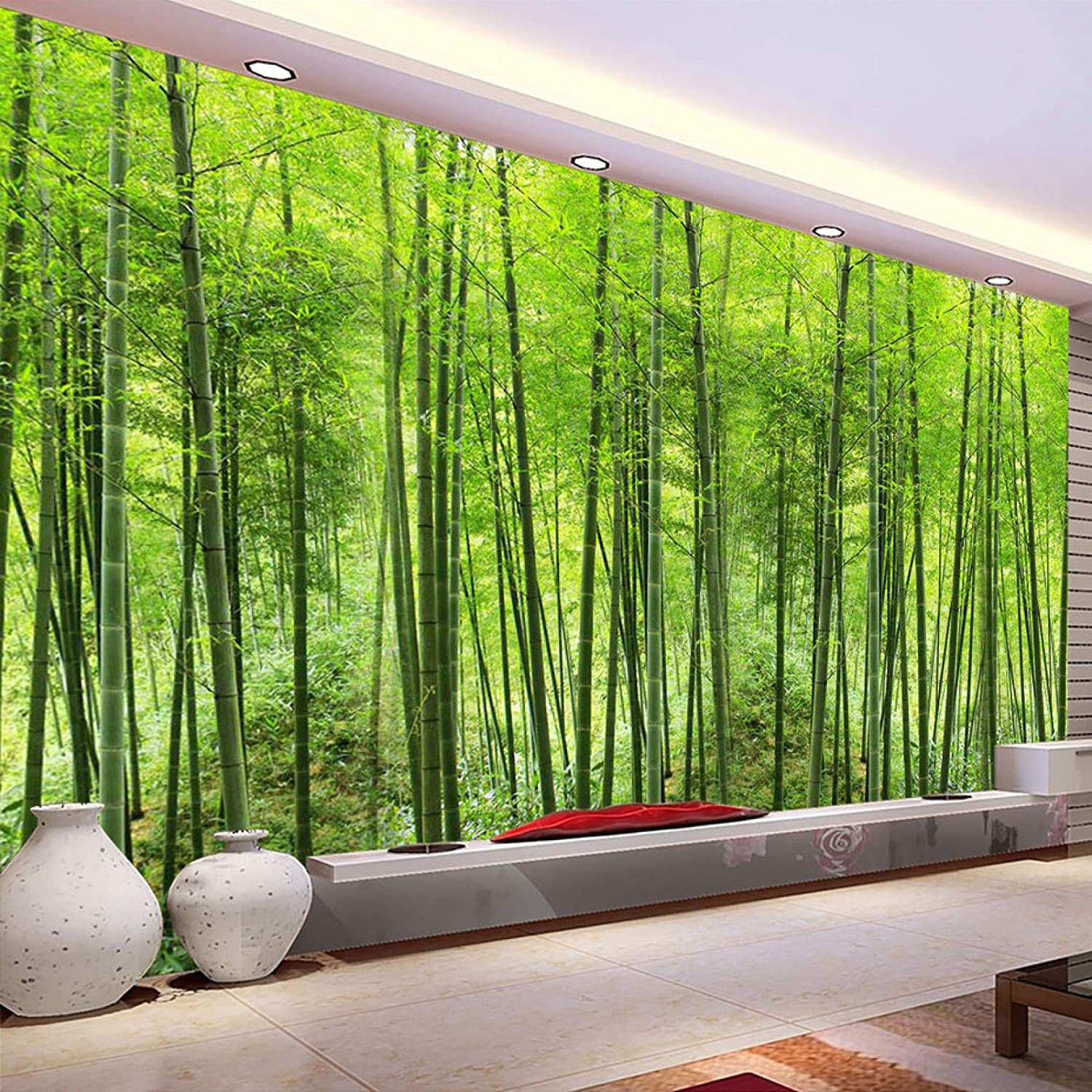 HUIJIE Photo Wallpaper,Custom 3D Large Mural Nature Landscape Green Bamboo Forest Photo Mural Wallpaper for Wall Living Room Tv Sofa Background Wall Decoration,250Cm(H)×360Cm(W)