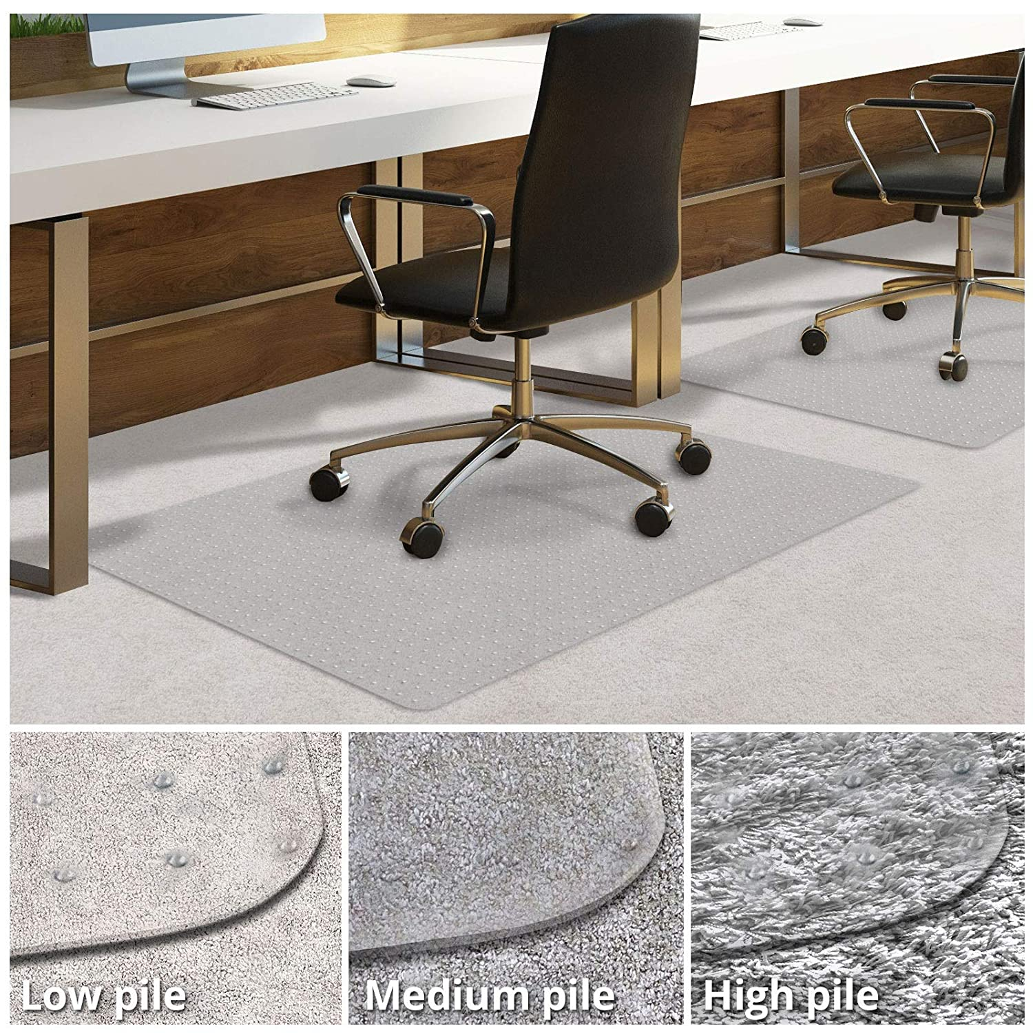casa pura PVC Chair Mat for Carpet Floor | Floor Protector for High Pile Carpets | 75x120cm | 4mm Thick | Weight Capacity up to 350KG | Multiple Sizes