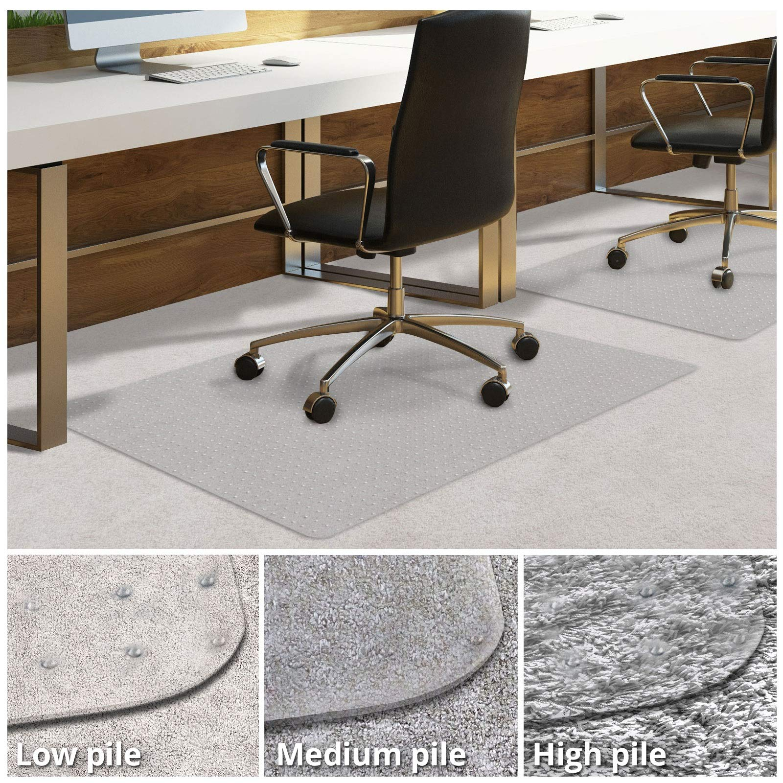 Office Chair Mat for Carpeted Floors | Desk Chair Mat for Carpet | Clear PVC Mat in Different Thicknesses and Sizes for Every Pile Type | Low-Pile 48''x60''