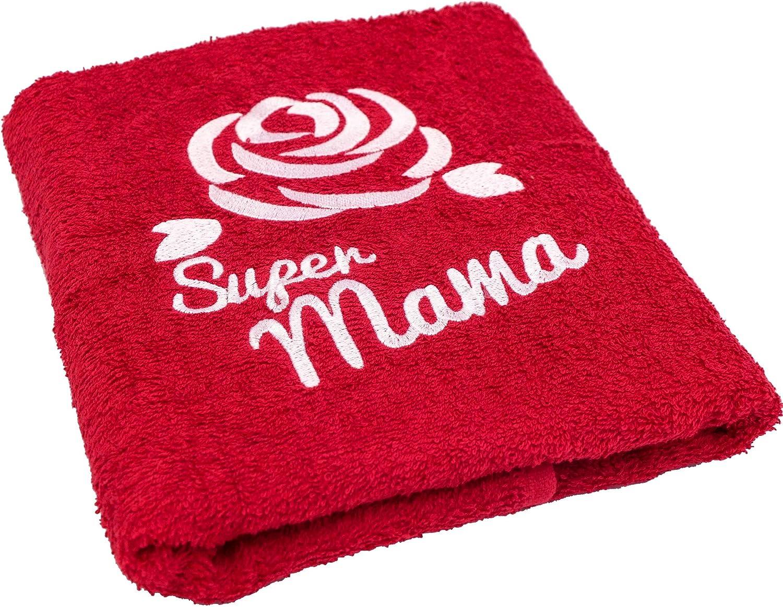 Regalo para mamá en su cumpleaños o en el Día de la Madre; toalla con las inscripciones