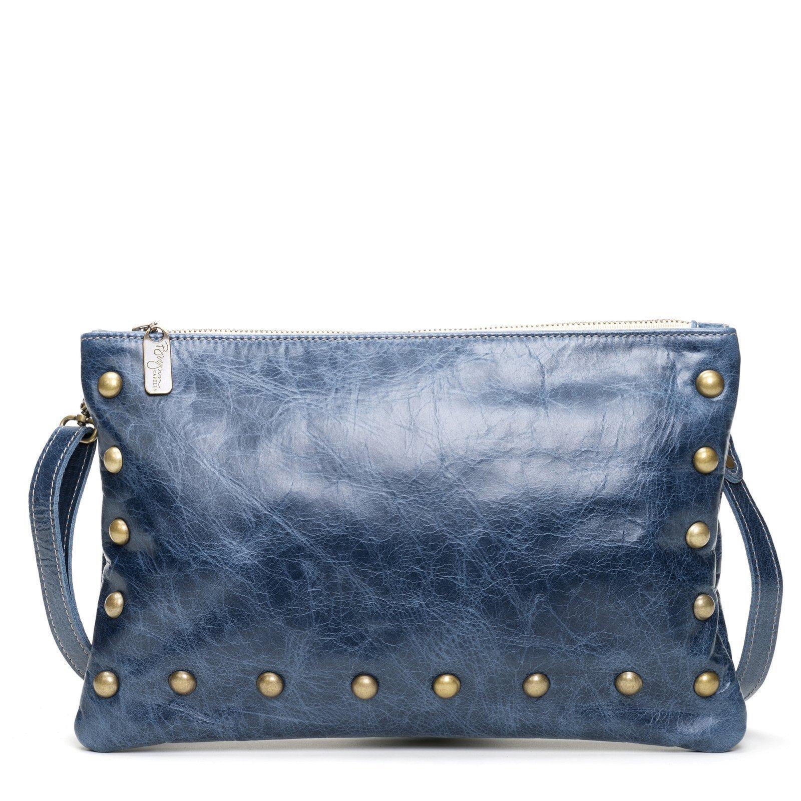 Blue Distressed Italian Leather Medium Crossbody Clutch