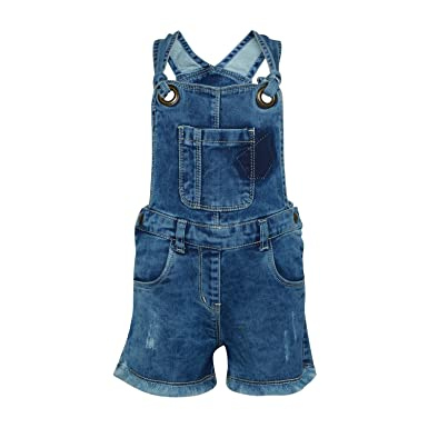ec797a30944 Tales   Stories Baby Girls Blue Denim Dungarees  Amazon.in  Clothing    Accessories