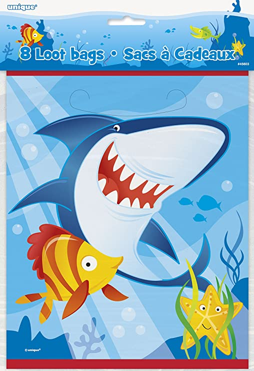 Children/'s Birthday Party /'Shark Splash/' 8 x Loot Favor Bags Ocean Sea Theme