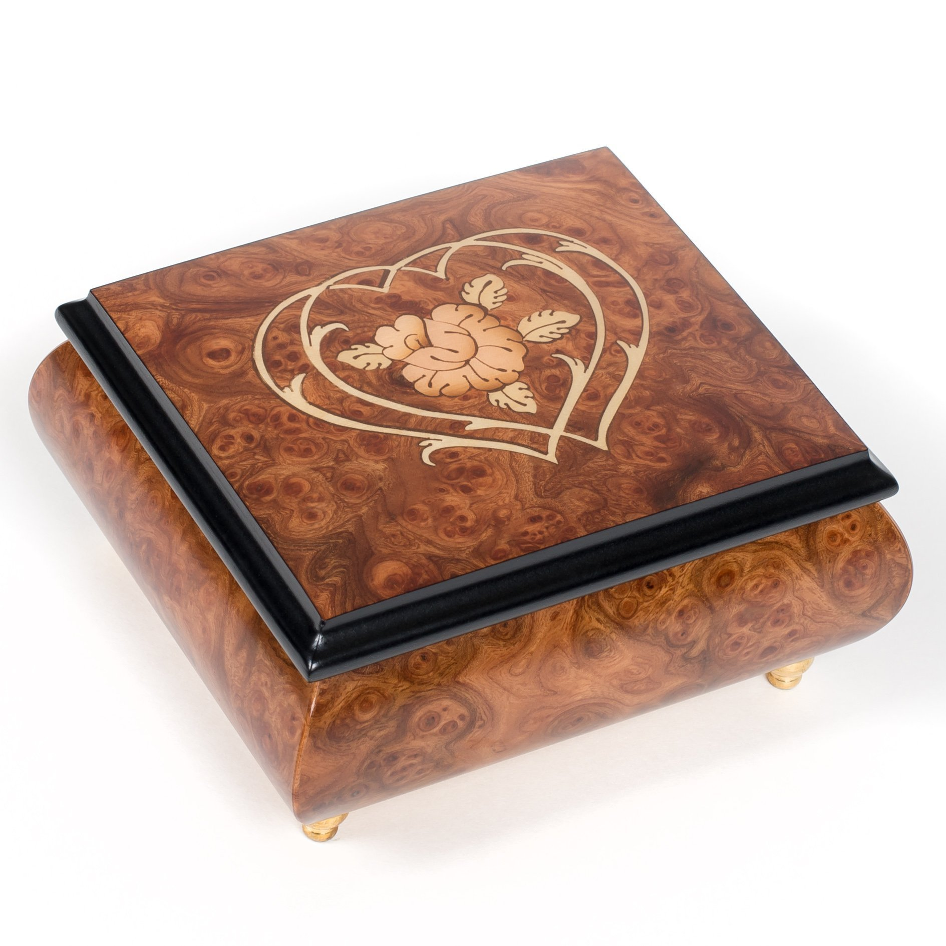 Double Hearts Italian Hand Crafted Inlaid Wood Jewelry Music Box Plays Ode to Joy by Splendid Music Box Co.
