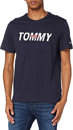 Tommy Jeans TJM Layered Graphic tee Camisa, Azul Marino (Twilight Navy), S para Hombre