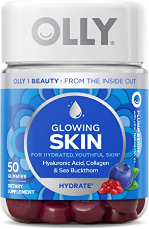 OLLY Glowing Skin Gummy, 25 Day Supply (50 Count), Plump Berry, Hyaluronic Acid, Collagen, Sea Buckthorn, Chewable Supplement (Packaging May Vary)