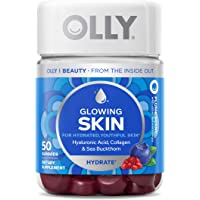 OLLY Glowing Skin Gummy Vitamins with Collagen, Hyaluronic acid for Hydrated Youthful Skin, 25 Day Supply, 50 count
