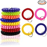 LoveS 12Pcs Colorful Coil Stretch Wristband Keychain for Gym, Pool, ID Badge
