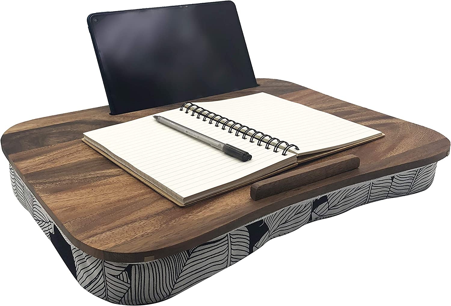Portable Laptop Desk with Pillow Cushion, Natural Walnut Lap Stand with Device Ledge, Fits up to 15.6 inches