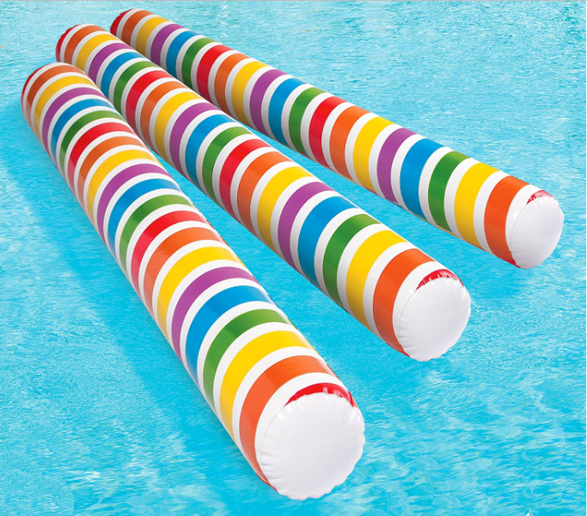 Inflatable Rainbow Glow-in-the-Dark Pool Noodles and Inflatables Hand Air Pump 4 Piece Bundle